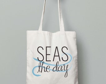 Seas The Day Canvas Tote Bag