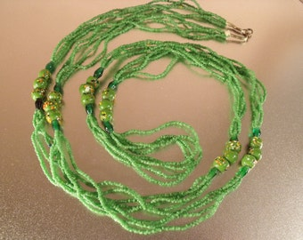 """gift/ green necklace/ Vintage necklace with ceramic hand painted beads 50""""Length.Jewelry .Women"""