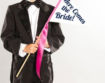 Here Comes The Bride Small Wedding Sign   Wedding Ring Bearer Flower Girl Page Boy Flag Pennant Custom Color Baseball Script 1638 SPW