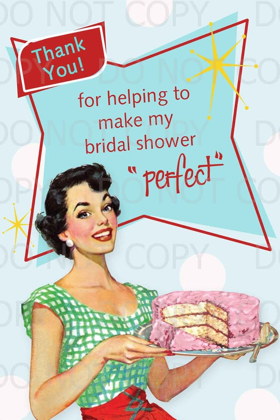 printable diy retro housewife bridal shower thank you card