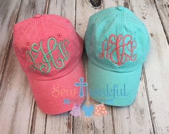 Monogram hat, monogram baseball cap, personalized baseball hat, monogrammed gift, sewthankful1, beach