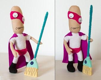 Noob Noob plush, Vindicators handmade doll, bendy arms and legs, 8 in high