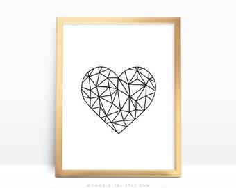 SALE -  Geometric Heart, Shape Heart, Black White Print, Modernism, Contemporary, Minimalism, Geometric Print, Love, Wedding Anniversary
