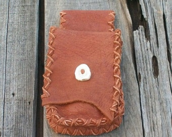 Handmade leather belt bag , Leather hip bag , Cell phone belt bag