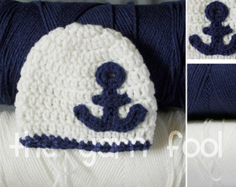 Crochet Anchor Beanie Newborn, Infant, Toddler, Youth, and Adult Sizes