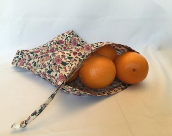 Fabric Produce Bag/Flowers and Fruit Grocery Bag/Drawstring Shopping Bag/Eco Friendly No Waste Market Bag
