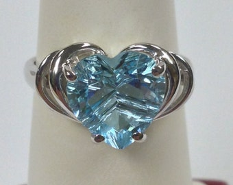 Heart Shape Natural Blue Topaz Ring 925 Sterling Silver. December Birthstone