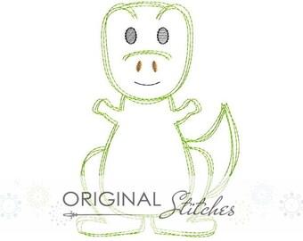 Quick Stitch TRex Dinosaur Embroidery Digital Design File  4x4 5x7 6x10
