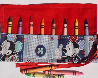 Crayon Roll Up Crayon Holder Mickey Mouse - Holds 8 Crayons