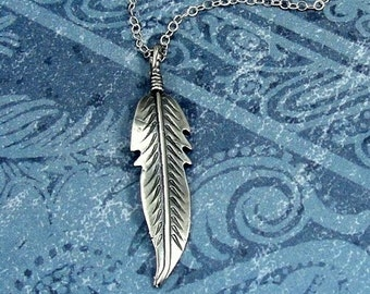 Feather Necklace, Sterling Silver Feather Charm on a Silver Cable Chain