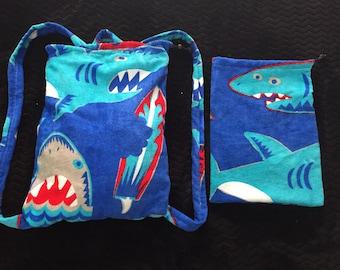 2-in-1 Reversible towel drawstring bag set