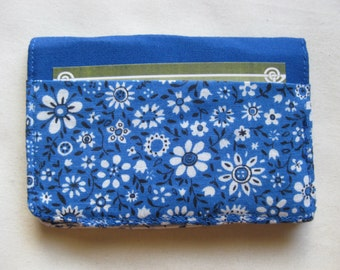 Business Card Holder Mini Wallet- Bifold Inside Outside Wallet in Vintage Blue and White Calico Floral Fabric