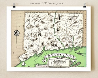 CONNECTICUT MAP PRINT - shown in coastal green - may be personalized - vintage map print - wedding gift idea - home decor - wall artwork