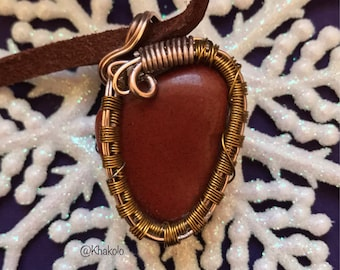 Red Mediterranean Jasper wire wrapped pendant