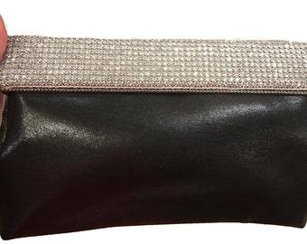 New Black Metallic Faux Leather With Crystal Rhinestone Flap Hard Shell  Evening Clutch Bag