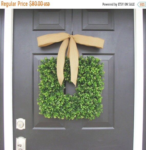 SPRING WREATH SALE Square Boxwood Wreath- Spring Wreath- Housewarming Gift- Kitchen Decor- Shabby Chic Wreath- Cottage Chic- 16 Inch Thin Wr