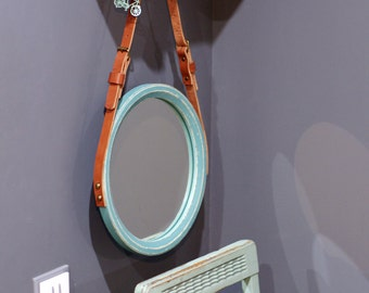 "Turquoise Round Mirror ""Habana"" / Loft Style / Strap Wall Mirror / Leather Circle Mirror / Leather Wooden Mirror / Scandinavian Style Mirror"