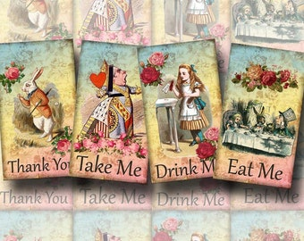 Drink Me, Eat Me, Take Me, Thank You - Alice In Wonderland Cards-Tags- INSTaNT DOWNLoAD - Printable Collage Sheet Download