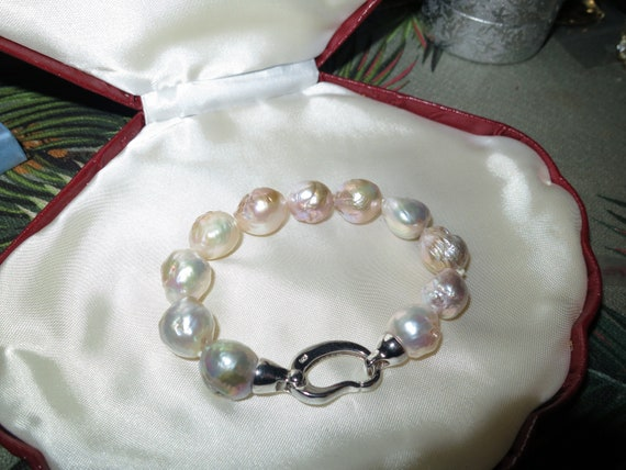 Beautiful 12mm Kasumi baroque natural pearl bracelet