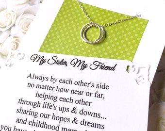 2 SISTER NECKLACES Set Jewelry for Sisters Inseparable Rings Sterling Silver Matching Necklaces GiFT  PACKaGED