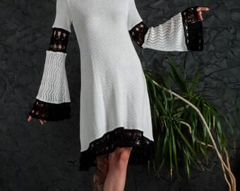 Crochet Wedding Dress white formal Dress Handmade mini Dress Crochet white Dress party lace Dress Crochet EVENING Dress long sleeve Dress