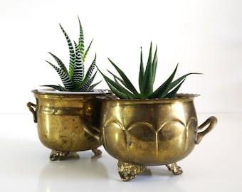 Vintage Brass Planters, set of 2 / Brass bowls