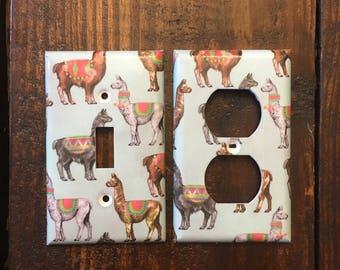 Llama Light Switch And Outlet Covers | Llama Decor - Set of 4 - Llama Gift - Llama Wall Art - Nursery Decor - Home Decor - Animal Art - kids