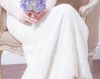 Wedding Bouquet - Blue & Purple Hydrangea Bridal Bouquet with Silver Flowers - Hydrangea Bouquet, Fabulous Brooch Bouquet Alternative