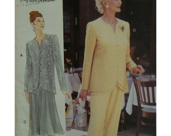 Mother of the Bride Dress Pattern, Layered Jacket, Button/Loop, Open Neck, Flared Skirt, Straight Pants, Vogue No. 9596 UNCUT Size 20 22 24