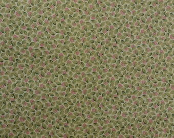 Cotton Quilting Fabric, Leaf Fabric, Cotton Fabric, Sewing Fabric, Pink and Green Fabric, Cotton Floral Fabric - 2 Yards - CFL2535