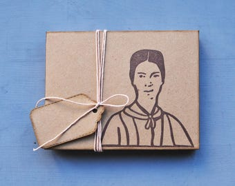 "Handmade stationery set ""Emily"" with gift box, handmade notebook, handmade mini journal, handprinted bookmarks, writers gift"