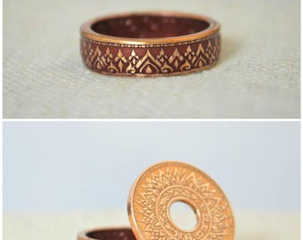 Burgundy Ring, Thailand Coin Ring, Burgundy Coin Ring, Crown Ring, Thailand Art, BoHo Ring, Coin Jewelry, Bohemian Ring, Thai Coin Ring, Red