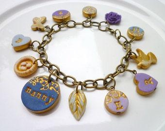 Charms Bracelet- Nanny Bracelet - Letter Charm Bracelet - Personalized Jewelry for Mom and Nana - Blue and Purple