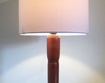 Unique African Sapele hardwood table lamp 315mm in height.
