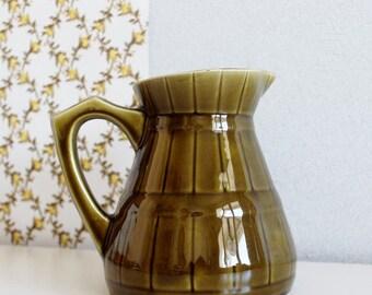 French Majolica Pitcher, Sarreguemines, Green Majolica Pitcher, Majolica Pottery Vase Vintage, Majolica Vase, Majolica Vintage, Majolica Pot