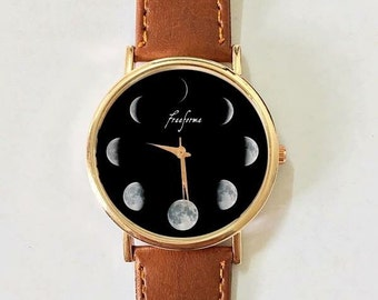 Moon Phase Watch, Women watches , Men's watch Vintage Style Leather Watch, Unisex Watch, Boyfriend Watch, Galaxy Space Watch Rose Gold Gift
