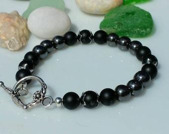 Matte Onyx and Hematite Bracelet Free Shipping