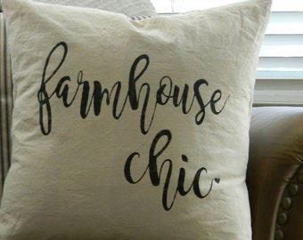 Farmhouse Chic| Throw Pillow| 18x18| Hand Painted Pillow