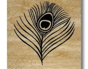 Peacock Eye Feather, large Mounted rubber stamp, bird, wedding, bridal, fantasy, Sweet Grass Stamps No.20