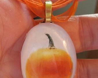 "Big Orange Pumpkin Halloween Gothic  Neckace 18"" -20"" ribbon cabochon"