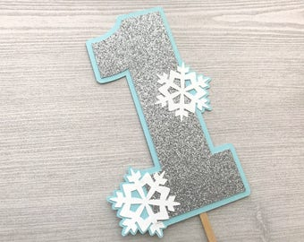 Any Age Snowflake Cake Topper, Winter Wonderland Cake Topper, Frozen Cake Topper