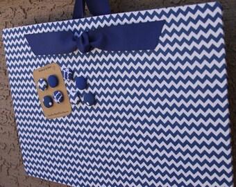 "Magnetic Board (24"" x 18"") Fabric covered magnet board Royal blue chevron, Memo Board, Decorative Bulletin Board, Photo display, Kids room"