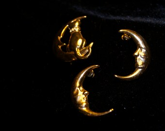 Vintage Gold Plated Brooch and Earrings Moon and Cat Feline Retro 80's