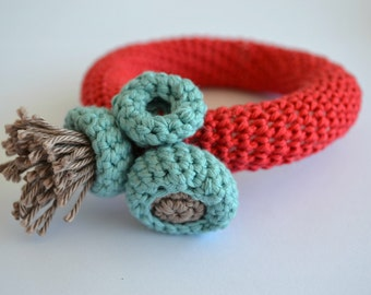 Contemporary crochet bracelet -red bangle bracelet with mint blue- sea inspired jewelry