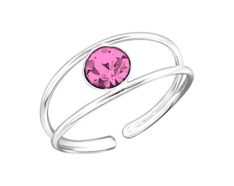 Sterling Silver Rose Crystal Toe Ring