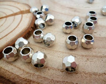 Silver Plated Faceted metal Beads_ NC/F14030/276_Large hole faceted Metal spacer of 7x7 mm hole 4 mm _ pack 25 pcs