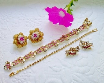 Vintage Pink Jewelry Lot, Bracelets 1 Coro, Rhinestone Clip Earrings, Painted Milk Glass Earrings