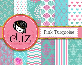 Pink turquoise digital paper 'Pink Turquoise' 12 pink and teal backgrounds for scrapbooking