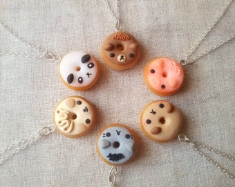 Animal donut necklace, food necklace, miniature food jewelry, doughnut pendant, kawaii necklace, best friend, animal totem