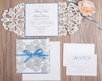 Silver Glitter Laser Cut Wedding Invitation and RSVP